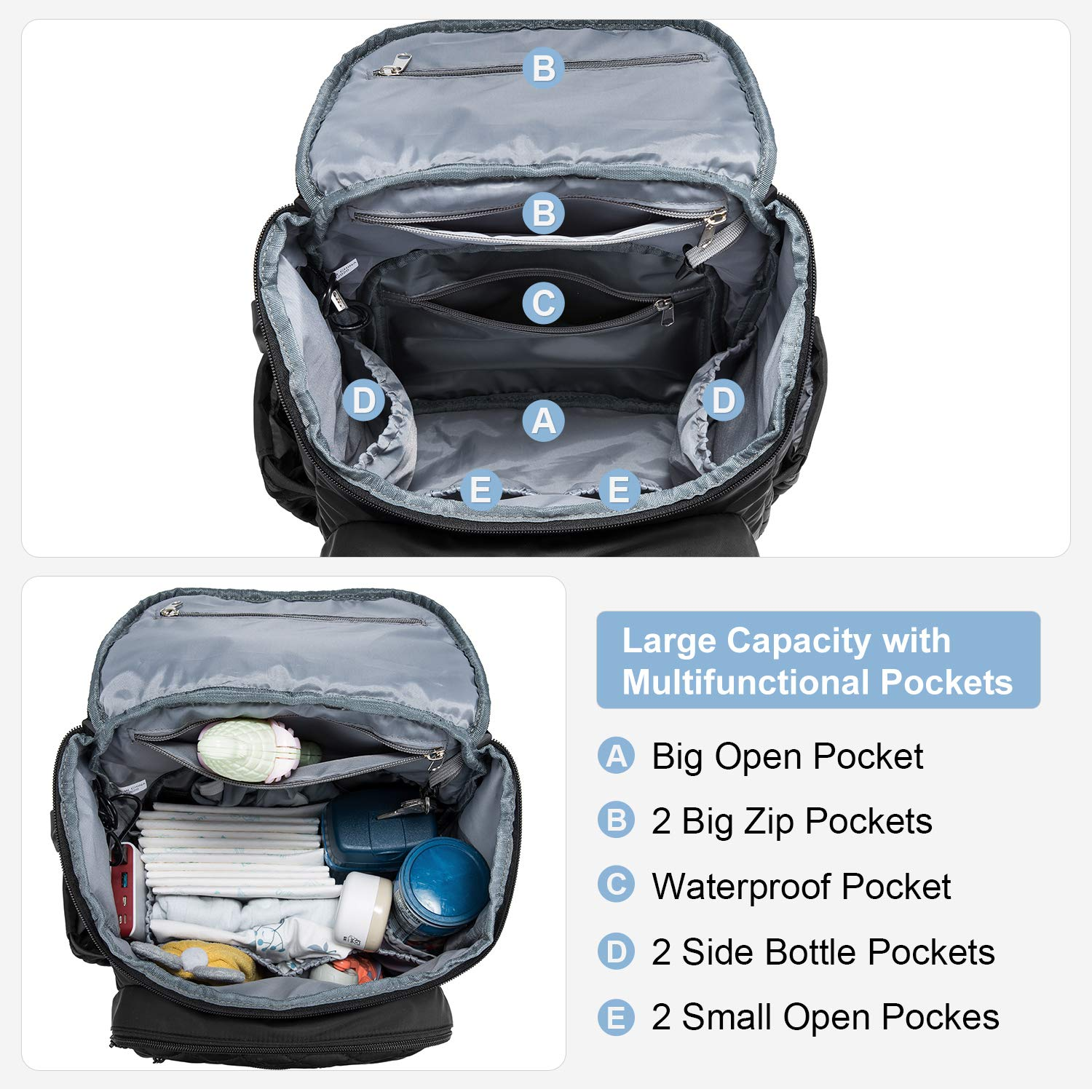 Diaper Bag Backpack, Multifunction Travel Backpack for Boys Grils with Waterproof Portable Changing Pad, Stroller Straps, Thermal Pockets, Unisex and Stylish, Black