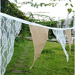Burlap Chic Lace Jute Banner, DIY Decoration Vintage Triangle Hessian Bunting 12Pcs Flag Cloth For Wedding Birthday Party Baby Shower Halloween Christmas Xmas Festivals Home Decor 3M/9.84Ft