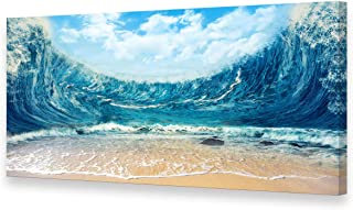 Muolunna BK2062 Wall Art Decor Large Canvas Print Picture Big Ocean Wave 1 Panel Beach Scenery Modern Painting Artwork for Office Wall Decor Home Decoration Stretched and Framed Ready to Hang Large