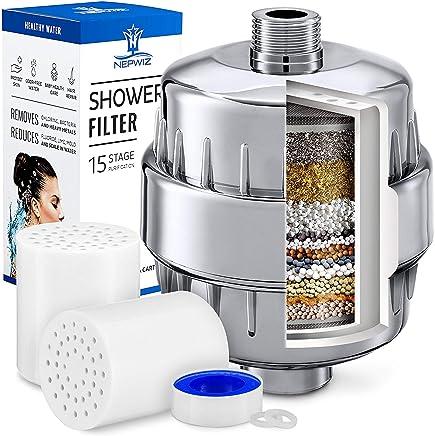 2 cartouches pour les filtres de pommeau de douche argent Filtre /à eau de douche 15 /étapes pour enlever le plomb de fluorure de chlore SF-15ST Chrom/é Douche filtr/ée adoucisseur pour eau dure