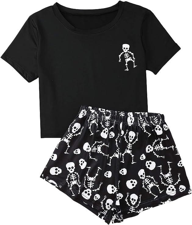 Romwe Women's Short Sleeve Sleepwear Skeleton Print Nightwear 2 Piece Pajama Set