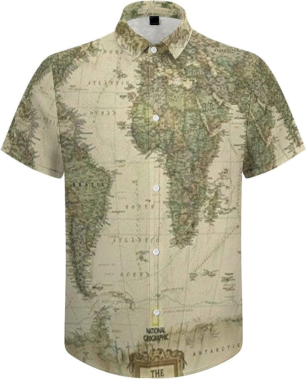 Men's Regular-Fit Short-Sleeve Printed Party Holiday Shirt Ancient World Map