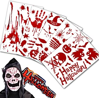 60pcs Halloween Scrapbook Horror Paper -Bloody Handprint Footprint Horror Bathroom Zombie Party,Pumpkin face Stickers for Kids Decorating Make a Sticker Craft Party