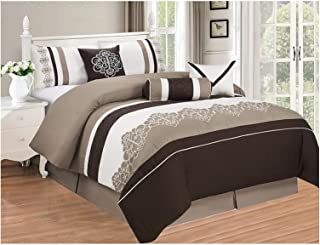 All American Collection New 7 Piece Embroidered Over-Sized Comforter Set (King, Brown/Beige)