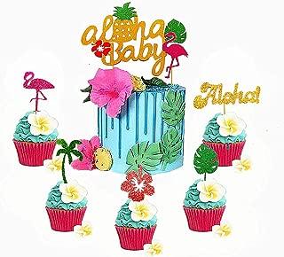 JeVenis Set of 25 Tropical Cupcake Toppers Aloha Cake Toppers Flamingo Cupcake Toppers Hawaiian Cupcake Toppers Luau Cupcake Toppers for Aloha Baby Shower Tropical Wedding Party Decor