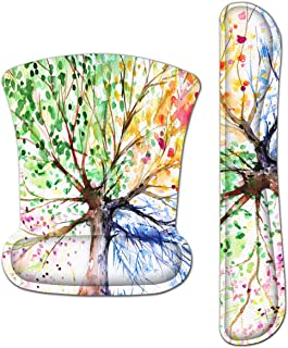Britimes Ergonomic Keyboard Wrist Rest Mouse Pad with Wrist Support Watercolor Four Season Tree of Life Rubber Base Mousepad for Office Gaming Working Computers Laptop Easy Typing & Pain Relief