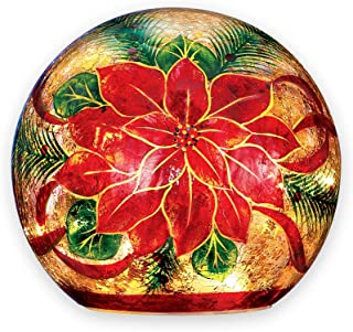 Collections Etc Poinsettia Lighted Crackled Glass Ball Large