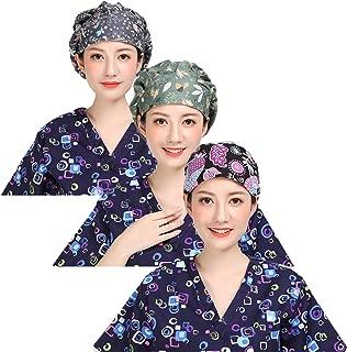 Nothar 3pc Women's Adjustable Scrub Cap Sweatband Bouffant Hats Value Set