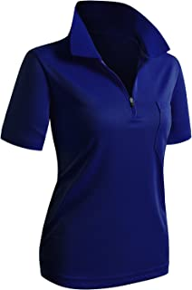 CLOVERY Women's Sportwear Polo Shirt Zip-up Pocket Short Sleeve