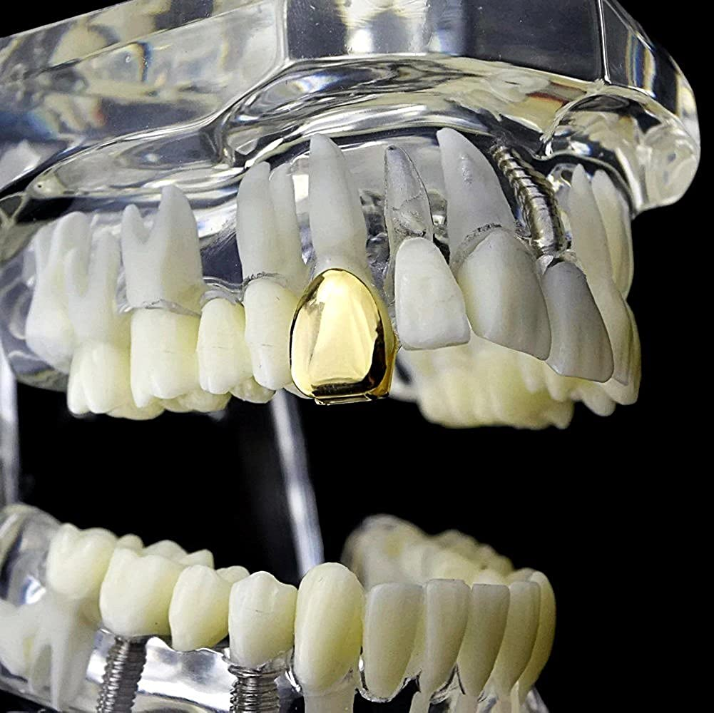 14k Gold Plated Single Cap Grillz Plain K9 Canine Bling Tooth Grill Hip Hop Slugs