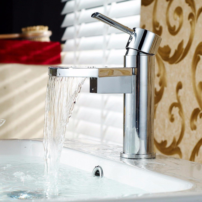 Moderne kupferfcherfrmige wasserfallauslass heies und kaltes wasser keramik ventil einlochmontage einzigen handgriff bad waschbecken wasserhahn
