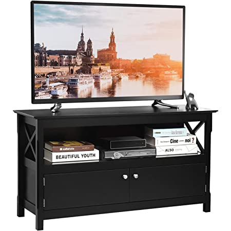 Tangkula Wooden TV Stand for TVs Up to 50 Inch, X Shape Console Storage Cabinet, Entertainment Center with 2 Doors & Shelf, Home Living Room Furniture, Farmhouse TV Storage Console (Black)