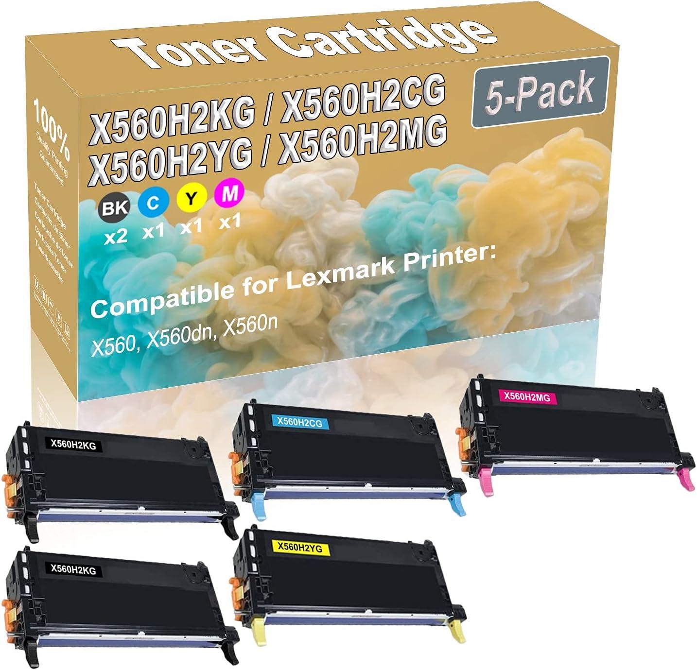 5-Pack (2BK+C+Y+M) Compatible X560 X560dn X560n Laser Printer Toner Cartridge (High Capacity) Replacement for Lexmark X560H2KG X560H2CG X560H2YG X560H2MG Printer Toner Cartridge