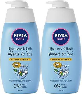 NIVEA Baby Head To Toe Shampoo & Bath, 2 x 500ml