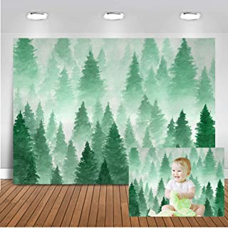 Mocsicka Green Pine Tree Backdrop Christmas Snow Tree Pine Boy's Birthday Party Banner Photo Backdrops 7x5ft Xmas Baby Shower Decoration Photography Background
