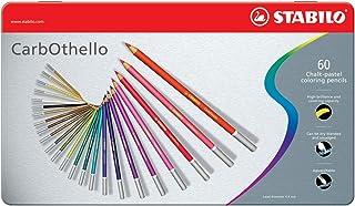 Crayon de couleur - STABILO CarbOthello - Boîte métal de 60 crayons fusains pastels + 1 taille crayon - Coloris assortis -