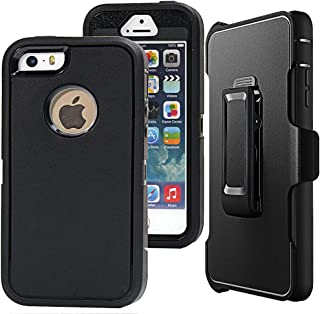 iPhone SE Case,iPhone 5s Case,Auker Defender 4 Layer Shockproof Scratch Drop Protection Tough Rubber Hard Inner Plastic Bumper Rugged Holster Case with Screen Protector for iPhone 5/5s/SE (Black)