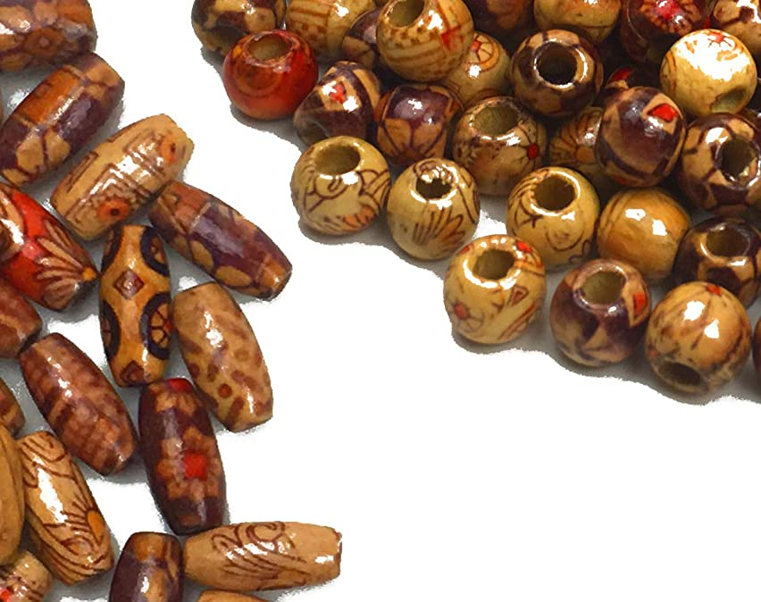 Hyamass 300PCS 10mm Natural Painted Mixed Pattern Wood Beads Round and Cylinder Loose Wooden Beads for DIY Crafts Jewelry Making