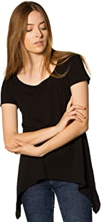 PuraKai Women's 100% California Grown Organic Cotton Flare Tee | Short-Sleeve Flowy Tunic T-Shirt