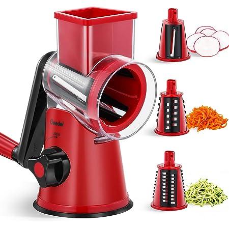 Rallador rotativo, cortador de verduras rallador de mano para cocina, cortador de alimentos triturador fácil de limpiar, rallador de verduras para pepinos, zanahorias, calabacines, etc