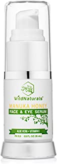 (0.5 fl oz (15ml)) - Anti Ageing Serum for Your Face with Manuka Honey By Wild Naturals - Natural Skin Care Moisturiser wi...