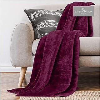 Gaveno Cavailia Super Soft Faux Fur Fleece Plain Throw Blanket, Burgundy, King, 200 x 240 cm