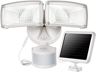 Luz solar de seguridad con sensor de movimiento 950LM, luz solar 5000K, cabezal doble de múltiples ángulos, diseño compacto y elegante para garaje, jardín, luz solar insuficiente.