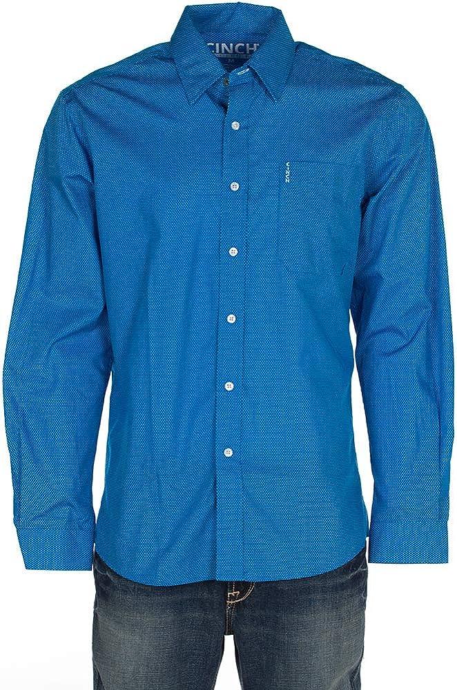 Cinch Apparel Mens Modern Fit Print Long Sleeve Button Down Shirt XXL Blue