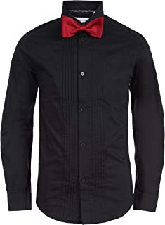 Boys' Big Long Sleeve Tuxedo Shirt with Bow Tie