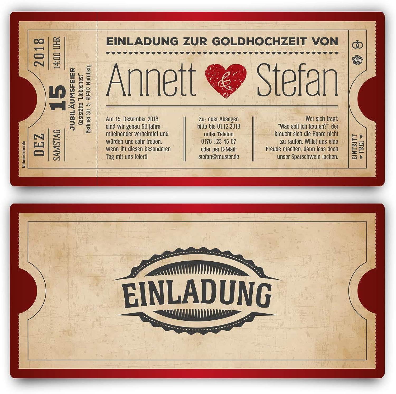 40 x Goldhochzeit Hochzeitseinladungen Goldene Hochzeit Einladungskarten individuell - Vintage Herz Rot B07GNJDPRK    Stabile Qualität