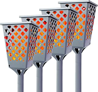Walensee Solar Lights Outdoor Upgraded, Waterproof Flickering Flames Torch Lights Outdoor Solar Spotlights Landscape Decoration Lighting 96 LED Dusk to Dawn Auto On/Off (4 Pack, Concrete Grey)