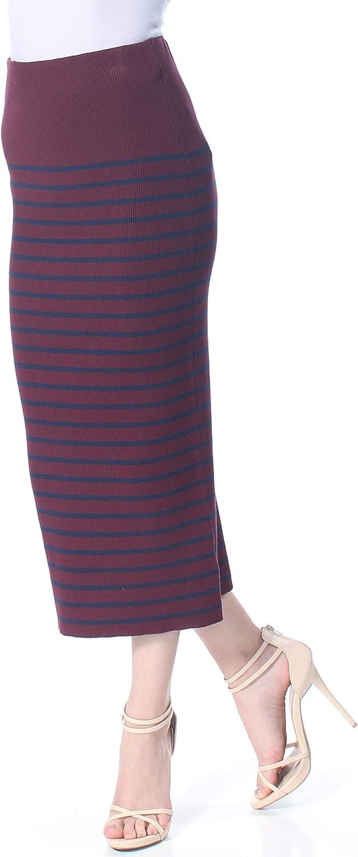 Ralph Lauren Womens Burgundy Striped Maxi Skirt Size XS