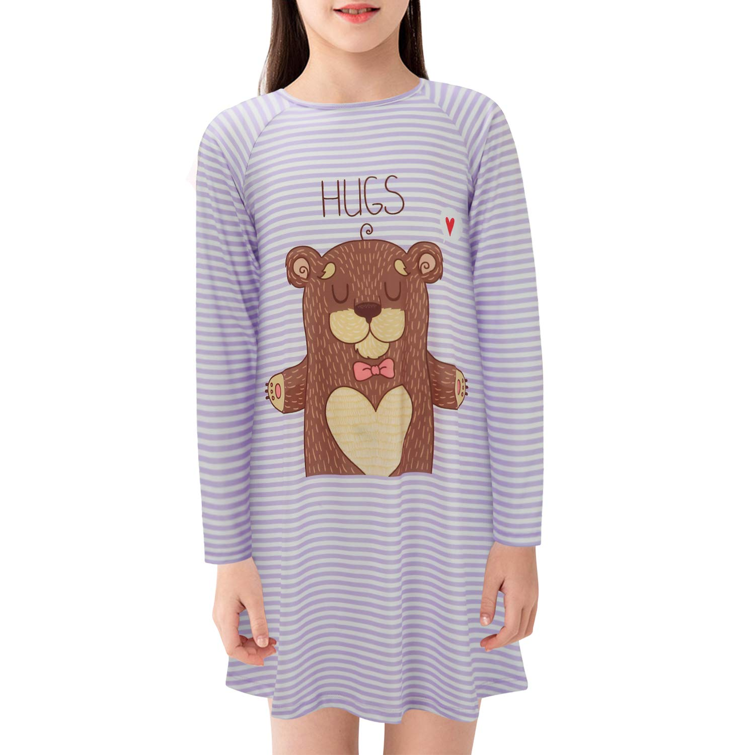 Image of Cute Striped Hugs Bear Nightgown for Girls
