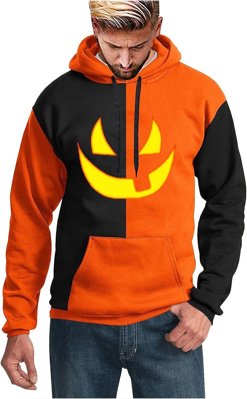 HONGJ Hoodies for Mens, 3D Halloween Pumpkin Jack-o-Lantern Print Pullover Loose Casual Party Novelty Hooded Sweatshirts