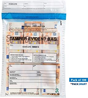 """USPACKSMART Deposit Bags for Cash Handling or Bank Deposits, Level 5 of Security Tape. Size 12""""x16"""" Clear (100 Bags x Package) Ref: 814-00"""