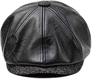 51aa1930 King Star King Star Mens Vintage 8 Panel Leather Newsboy Cap Cabbie Driving Gatsby  Hats Black