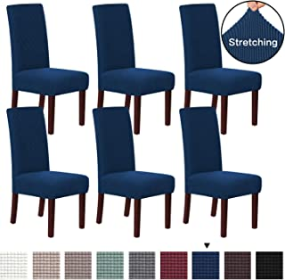H.VERSAILTEX 6 Pack Stretch Dining Room Chair Slipcovers Sets Stretch Chair Furniture Protector Covers Jacquard Removable Washable Elastic Bottom Chair Cover for Dining Room, Hotel, Ceremony - Navy