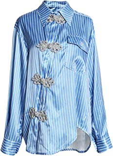 Macondoo Women's Long Sleeve Stripe Asymmetric Plain Frog-Button Button Down Shirts