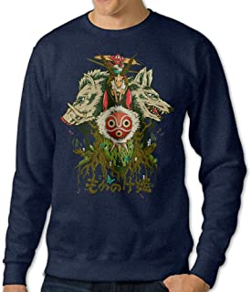 Men's Crewneck Sweater Princess Cartoon Mononoke Poster Navy