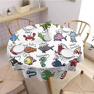 Modern Round Tablecloth Nautical Decor for Kids,Aquarium Cartoon Octopus Dolphin Shark Whale Clown Fish Jellyfish Crab Marine, Buffet Table Holiday Dinner Picnic D62