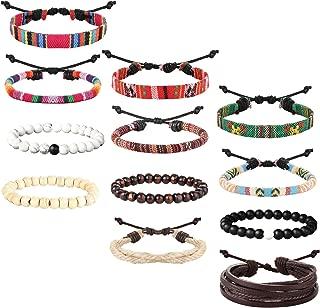 sailimue 12 Piezas Pulsera Cuero Piedra para Hombre Mujer Pulsera Trenzada Cuerda de Lino Madera Pulsera Etnica Tibetana Ajustable