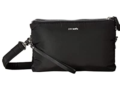 Pacsafe Stylesafe Anti-Theft Double Zip Crossbody (Black) Handbags
