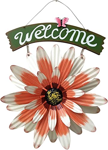 discount Front Door Welcome Sign Handcrafts Vintage Daisy Wreath high quality Welcome Sign Door Decor Hanging Outdoor Wreath Decorative Door Porch 2021 Bar Cafe Shop Decoration Ornament, 12In sale