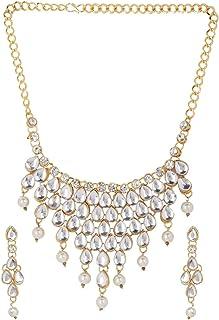 Efulgenz - Set di collane e orecchini in stile indiano Bollywood placcato oro con cristalli Kundan e perle finte