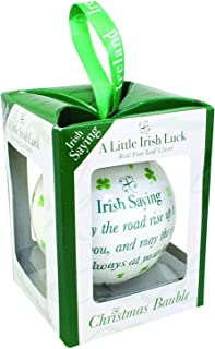 Carrolls Irish Gifts 4 Leaf Clover White Christmas Bauble With Irish Saying