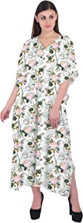 RADANYA Floral Caftan Dresses for Women V Neck Long Kaftan Cover Up Summer Maxi Dress