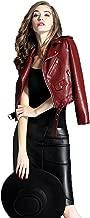 LY VAREY LIN Women's Faux Leather Motorcycle Jacket PU Slim Short Biker Coat