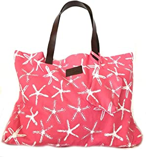 West Indies Cotton Beach Bag with Leather Handles Tote Carryall (Wishes Pink)