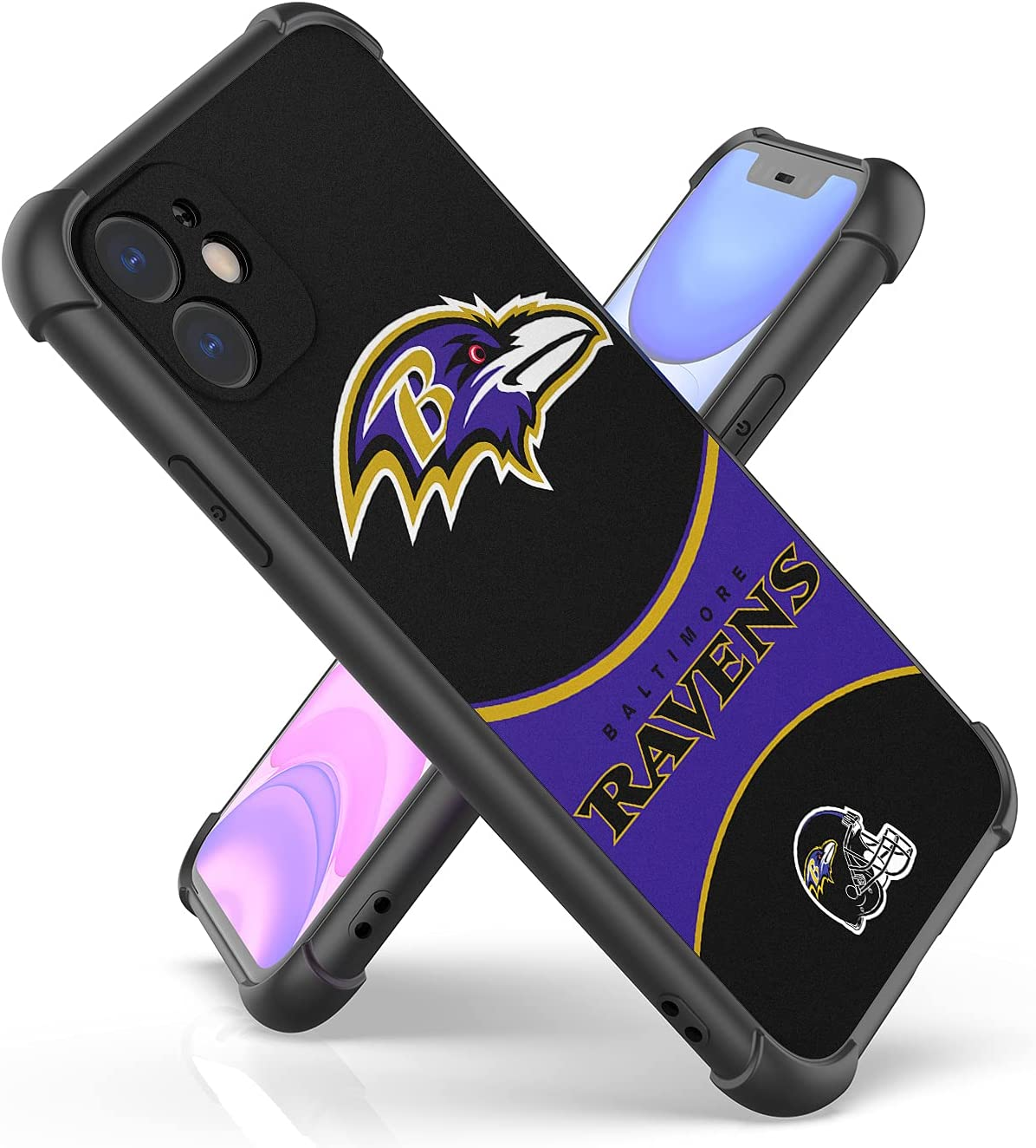 Football Sports Team Phone Case for iPhone 11 6.1 Inch, Fashion Cool Stylish Pattern Design Shockproof Cover for Men Women Teen Boys Girls (Black 01)