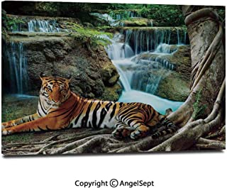 Modern Salon Theme Mural Indochina Tiger Lying with Relaxing Under Banyan Tree Against Limestone Waterfalls Picture Painting Canvas Wall Art for Home Decor 24x36inches,